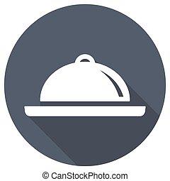 restaurante, cloche, icono, con, largo, sombra