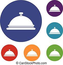 restaurante, cloche, iconos, conjunto