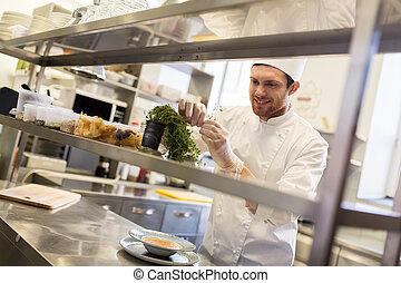 restaurante, cocina, cocina, chef, macho, feliz