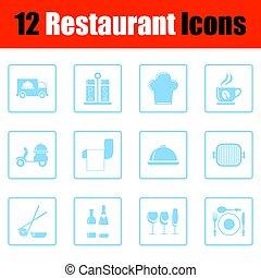 restaurante, conjunto, icono