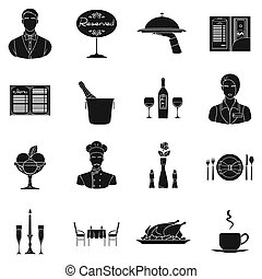 restaurante, conjunto, iconos, en, negro, style., grande, colección, de, restaurante, bitmap, símbolo, ilustración común