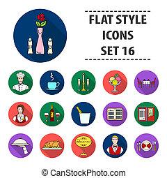 restaurante, conjunto, iconos, en, plano, style., grande, colección, de, restaurante, bitmap, símbolo, ilustración común