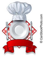 restaurante, desenho, com, um, prato, e, chapéu