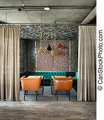 restaurante, desván, estilo