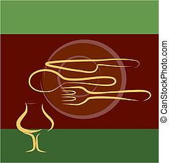 restaurante, diseño, plantilla