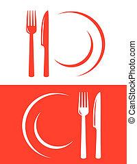 restaurante, dois, ícones