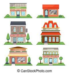 restaurante, e, loja, fachada, isolado, vetorial, jogo