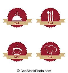 restaurante, etiquetas