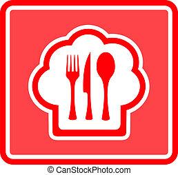 restaurante, fondo rojo, icono