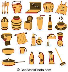 restaurante, fornecer, ícones