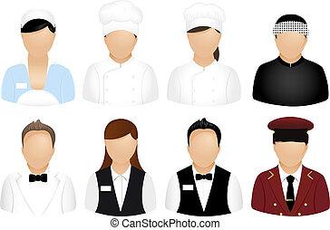 restaurante, gente, iconos