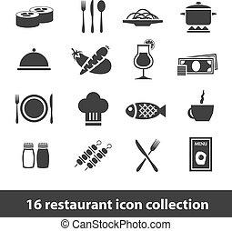 restaurante, iconos