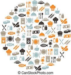 restaurante, iconos, en, círculo