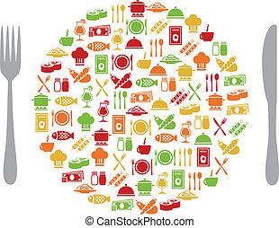 restaurante, iconos, en, círculo, con, cubiertos