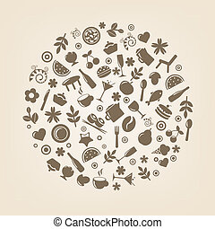 restaurante, iconos, en, forma, de, esfera