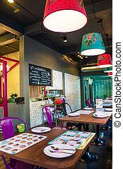 restaurante, ladrillos, moderno, paredes, interior, muebles