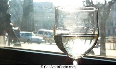 restaurante, luz solar, vidro