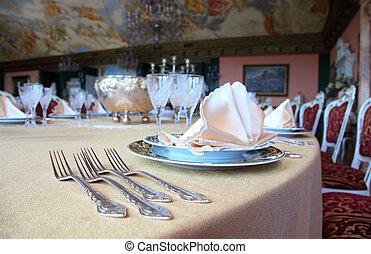 restaurante, mantel individual, dos, cuatro, placas de cena...