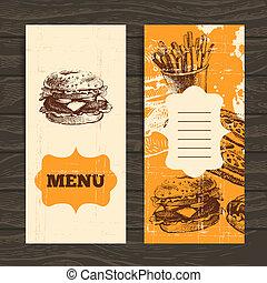 restaurante, menu, ilustração, mão, coffeehouse., café,...