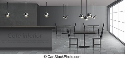 restaurante, moderno, realista, vector, interior, café