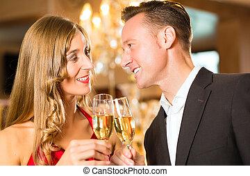 restaurante, mulher, champanhe, homem, provando