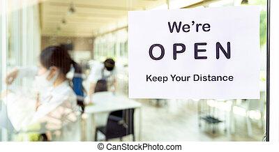 restaurante, nuevo, normal, abierto, signage, distancia, social