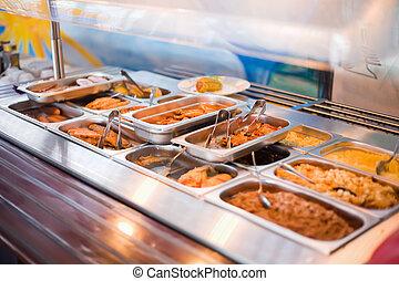 restaurante, público, mostrador, abastecimiento, almuerzo,...