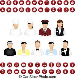 restaurante, pessoas, ícones, e, mapa, ícones, vetorial, jogo