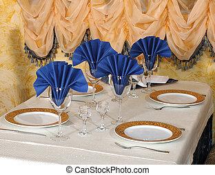 restaurante, preparado, tabla