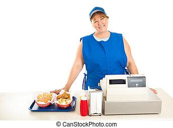 restaurante, rápido, trabajador, sonriente, alimento