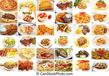 restaurante, refeições, colagem