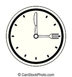 restaurante, relógio, relógio, cutelaria, pretas, branca