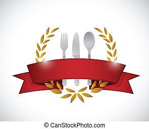 restaurante, sello, graphic., ilustración, diseño