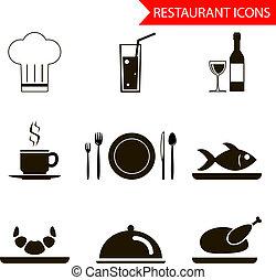 restaurante, sihouette, ícones, jogo, vetorial