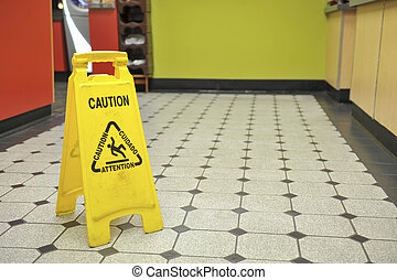 restaurante, sinal, chão, molhados
