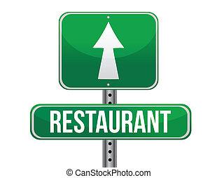 restaurante, sinal estrada