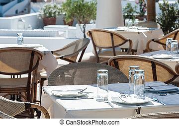 restaurante, sol, de, ilha santorini