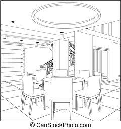 restaurante, tabla, conjunto