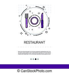 restaurante, tabla, plato, servicio de alimento, bandera, con, espacio de copia
