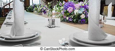 restaurante, tabla, servido