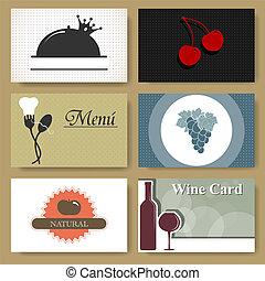 restaurante, tarjetas