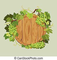 restaurante, uvas, madeira, menu, quadro, isolado, elemento, experiência., barzinhos, verde, bege, label., folhas, café, ou, redondo