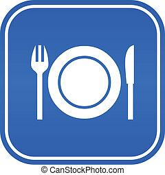 restaurante, vector, señal