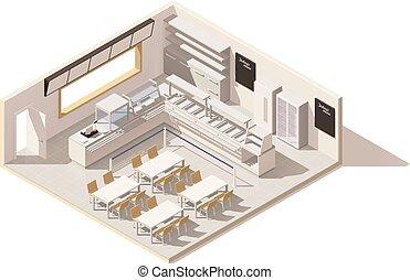 restaurante, vector, servicio, poly, bajo, sí mismo, isométrico
