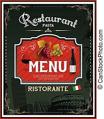 restaurante, vindima, cartaz, desenho, menu, italiano
