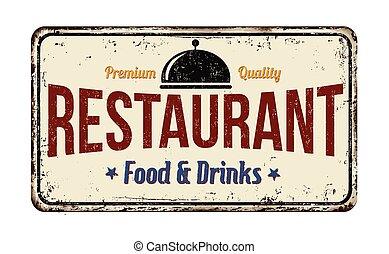 restaurante, vindima, metal enferrujado, sinal