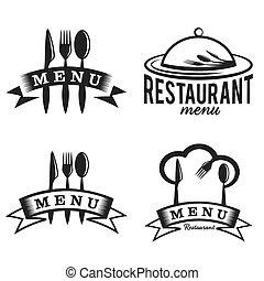 restaurante, y, menú, elementos, conjunto