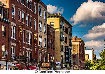 Restaurants and shops on Hanover Street in Boston, Massachusetts