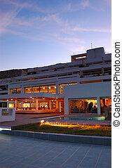 restaurant's, illumination, de, luxe, hôtel, pendant, coucher soleil, crète, grèce
