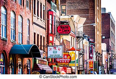 Restaurants in Chinatown, Philadelphia, Pennsylvania. -...